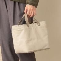 SALE【ル ジュール(LE JOUR)】 【CACHELLIE】LEATHER HANDLE CANVAS TOTE オフホワイト