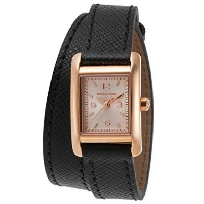 マイケルコース Michael Kors レディース 腕時計 時計 Michael Kors Women's Black Leather Band Steel Case Quartz Rose...