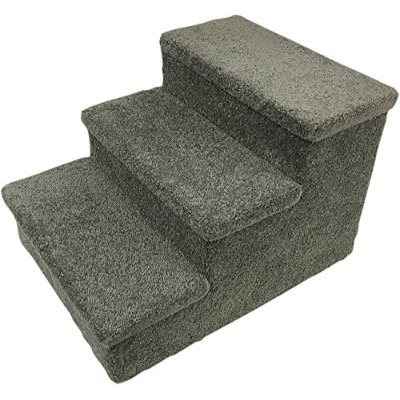 """Penn Plax 3 Step Carpeted Pet Stairs for Both Cats and Dogs, 150 lb 12.75"""", Gray 141[並行輸入]"""