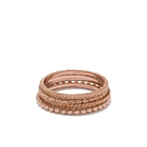 Wouters & Hendrix Gold 4リング セット 18Kローズゴールド - PINK GOLD