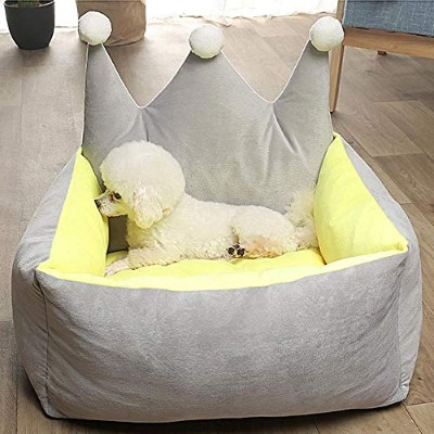 Warm Pet Dog Bed Puppy Crown Princess House Winter Soft Cotton Cushion Small Medium Dogs Mattress...