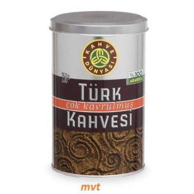 Kahve Dunyasi (Coffee's World) 8.8 Oz (250g) Premium Ground Turkish Coffee in Metal Box 100%...