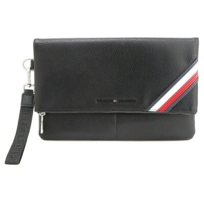 TOMMY HILFIGER (M)INT FOLDOVER ZIP POUCH トミーヒルフィガー バッグ クラッチバッグ ブラック【送料無料】
