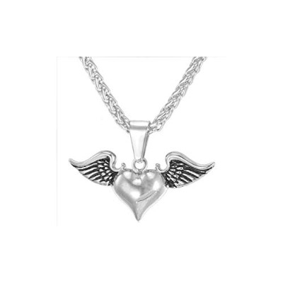 Vintage Love Heart Of Angel Wing Stainless Steel Necklace [並行輸入品]