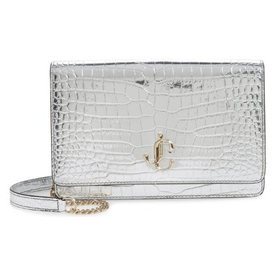 ジミーチュウ レディース クラッチバッグ バッグ Jimmy Choo Palace Metallic Croc Embossed Leather Clutch Silver