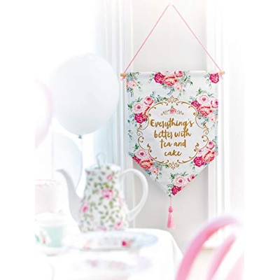 Talking Tables Truly Scrumptiousヴィンテージ花柄ファブリックHanging飾りfor a Teaパーティー、ブルー/ピンク