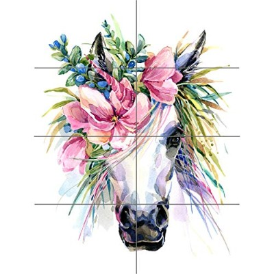 Unicorn With Flower Wreath XL Giant Panel Poster (8 Sections) ユニコーン 花 ポスター