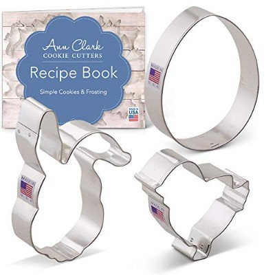Easter Cookie Cutter Set - 3 piece - Egg, Easter Bunny Face and Chick - Ann Clark - Tin Plated Steel