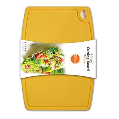 (Yellow) - Liflicon Food Grade BPA Free Silicone Cutting Board Flexible Nonslip Antimicrobial Thick...
