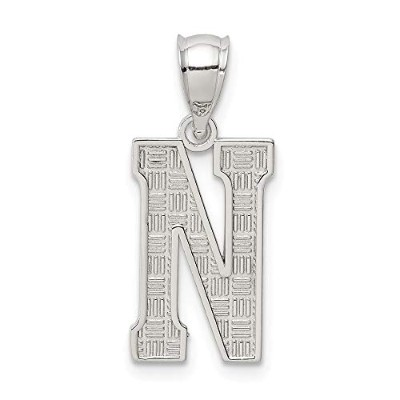 925 Sterling Silver Solid Polished Patterned Initial N Charm [並行輸入品]