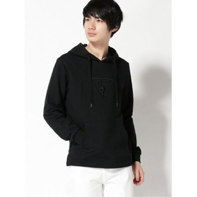 【SALE/50%OFF】GUESS EMBROIDERY LOGO PARKA ゲス カットソー パーカー ブラック イエロー【RBA_E】【送料無料】