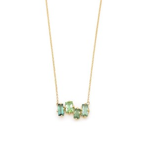 【64%OFF】14KYG assorted green tourmaline baguette ネックレス イエローゴールド