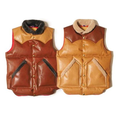 WAREHOUSE ウエアハウス × Rocky Mountain Feather Bed ロッキー マウンテン  ALL LEATHER DOWN VEST オール レザーダウンベスト クリスティ...