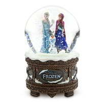 "Disney Store ディズニーストア アナと雪の女王 スノードーム Frozen Anna, Elsa and Olaf Musical Snowglobe plays ""Let It Go"""