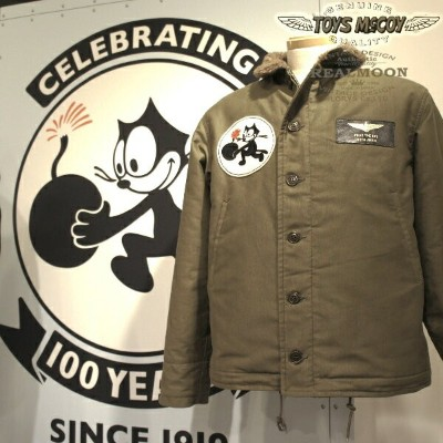"【REAL MOON別注】TOYS McCOY N-1 DECK JACKET SEMI CUSTOMFELIX THE CAT ""NAVY WILD CAT 1919""Style No...."