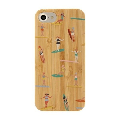 KIBACOWORKS [iPhone 8/7/6s/6専用]kibaco BAMBOO RUBBER CASE 663-102968 SURF GIRLS