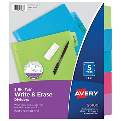 Avery Big Tab Write-On Dividers,1 Set of 5-Tabs (23180) by Avery [並行輸入品]
