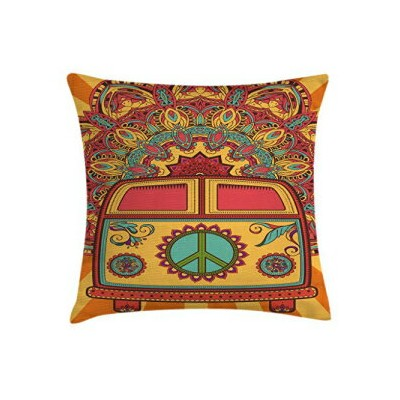 Ambesonne 70s Party Throw Pillow Cushion Cover, Hippie Vin