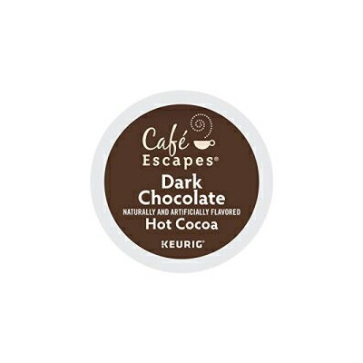 Cafe Escapes、ダークチョコレートホットココア、シングルサーブKeurig Kカップポッド、96カウント(24ボックス4箱) Café Escapes Cafe Escapes, Dark Chocolate Hot Cocoa, Single-Serve Keurig K-Cup Pods, 96 Count (4 Boxes of 24 Pods)
