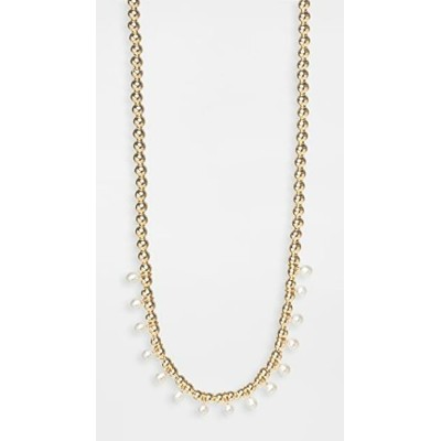 14k Gold Chain Necklace with Gold Beads レディース