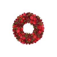 【28%OFF】クリスマスリース Red Appie Pinecone Wreath M