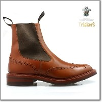 トリッカーズ TRICKER'S MARRON ANTIQUE M2754 ELASTIC SIDED BROGUE BOOTS HENRY SIDE GORE ダイナイトソール マロン...