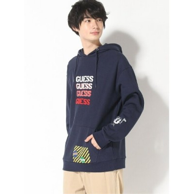 GUESS (M)[GENERATIONS] HOODED PARKA ゲス カットソー パーカー ネイビー グレー【送料無料】