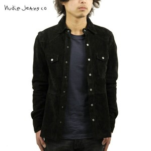 【25%OFFセール 6/14 20:00~6/21 1:59】 ヌーディージーンズ Nudie Jeans 正規販売店 メンズ 長袖シャツ Jonis Suede Shirt Black B01...