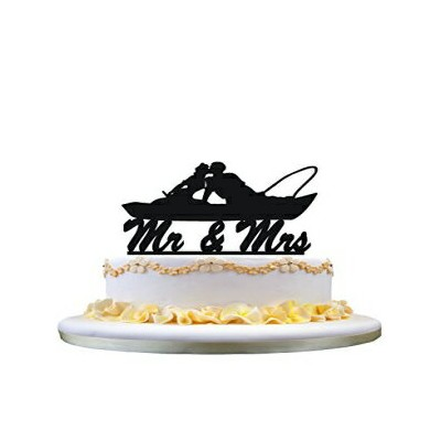 zhongfei Fishing Couple in Boat Kissing - Mr. and Mrs. Wedding Cake Topper