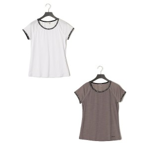 【50%OFF】YOUNG AND BEAUTIFUL トリミング Tシャツ 2枚セット グレー&ホワイト xs