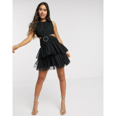 エイソス レディース ワンピース トップス ASOS DESIGN tulle mini dress with embellished ring in black Black