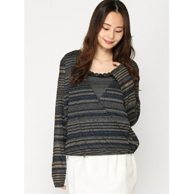 【SALE/63%OFF】GUESS (W)Ls Vivienne Stripe Top ゲス カットソー カットソーその他 ゴールド