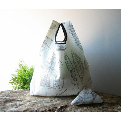 ATELIER SETTEMBRE   BOATS DRAWING TOTE BAG (gray)   トートバッグ/ショッピングバッグ【メール便送料無料 お買い物バッグ エコバッグ シンプル...