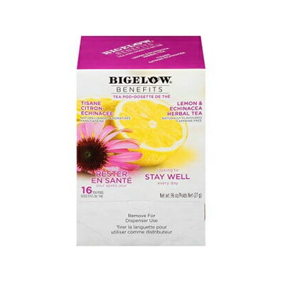 Bigelow Tea Bigelow Benefits Stay Well Lemon and Echinacea Herbal Tea Pods, 16-Count Box (Pack of 3) Caffeine-Free Individual Herbal Tisane Bags, for Hot Tea or Iced Tea