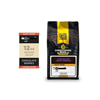 Christopher Bean Coffee Chocolate Teddy Berries, Flavored Decaffeinated Ground Coffee 12-Ounce Bag
