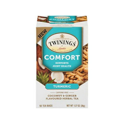 Twinings of London Daily Wellness Tea, Comfort Joint Health Turmeric, Coconut & Ginger, Flavored Herbal Tea, 18 Count