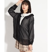 【PINK-latte(ピンク ラテ)】 シャツドッキング3WAYトップス OUTLET > PINK-latte > トップス > カットソー ブラック