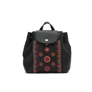 【55%OFF】刺しゅう バックパック Leather Backpack with Embroideries ネロ