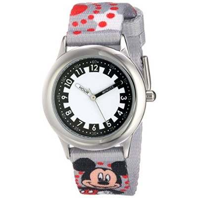 ディズニー 腕時計 キッズ 時計 子供用 ミッキー Disney Kids' W000289 Mickey Mouse Stainless Steel Printed Strap Watch