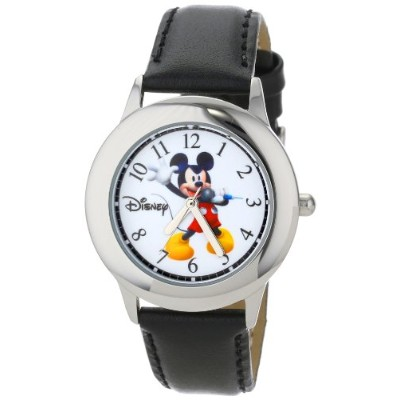ディズニー 腕時計 キッズ 時計 子供用 ミッキー Disney Kids' W000979 Tween Mickey Stainless Steel Black Leather Strap...