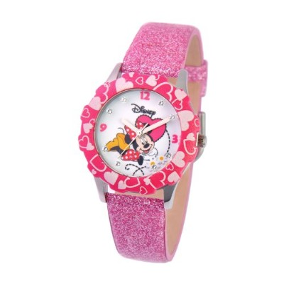 ディズニー 腕時計 キッズ 時計 子供用 ミニー Disney Kids' W000283 Tween Minnie Mouse Glitz Stainless Steel Pink Bezel...