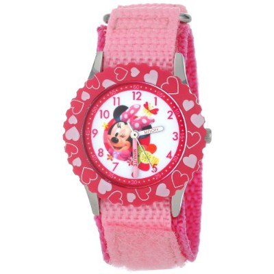 ディズニー 腕時計 キッズ 時計 子供用 ミニー Disney Kids' W001022 Minnie Stainless Steel Time Teacher Printed Bezel...
