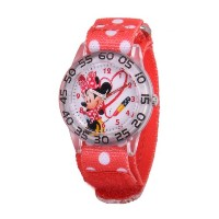 "ディズニー 腕時計 キッズ 時計 子供用 ミニー Disney kids' W001183 ""Minnie Mouse Time Teacher"" Watch with Red Nylon Band"