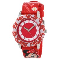 ディズニー 腕時計 キッズ 時計 子供用 ミニー Disney Kids' W000290 Tween Minnie Mouse Stainless Steel Red Bezel Printed...