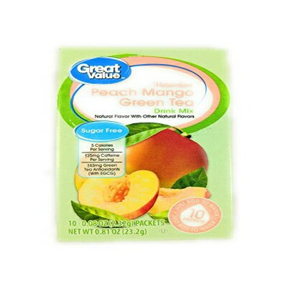 Great Value Metabolism Peach Mango Green Tea Drink Mix、10ct(Pack of 6) Great Value Metabolism Peach...