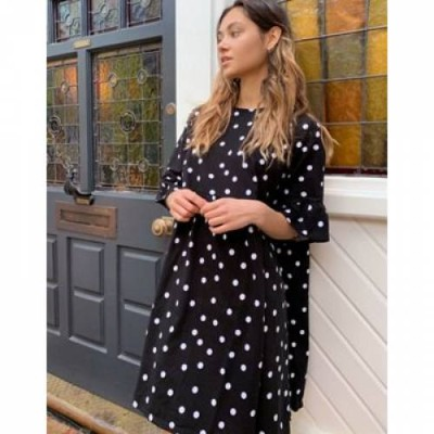 ドレス スリーブ レディースファッション 【 SLEEVE ASOS DESIGN MINI SMOCK DRESS WITH FRILL IN SPOT 】