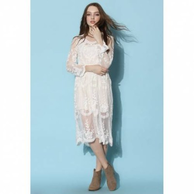 CHICWISH ドレス 【 CHICWISH BOHO BREEZE SHEER LACE DRESS COLOR 】 レディースファッション ドレス