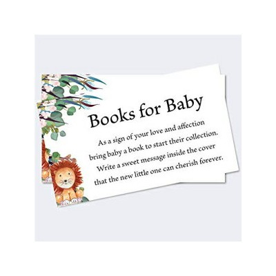 Moonrise Papery Set of 50 Safari Theme Books for Baby Shower Request Cards, Baby Shower Book...