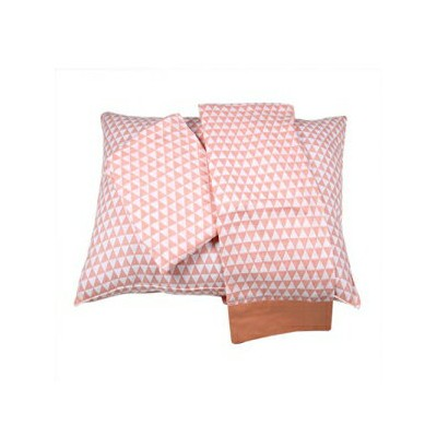 Bacati Aztec/Tribal Triangles 3 Piece Cotton Breathable Muslin Toddler Bedding Sheet Set, Coral...