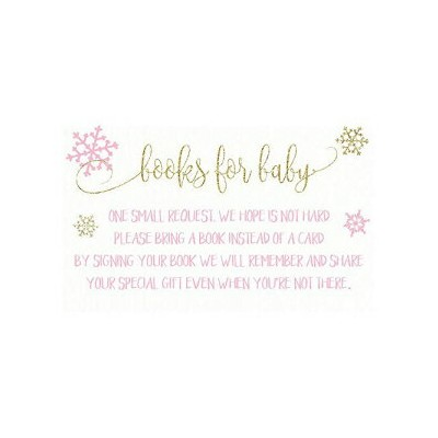 The Invite Lady Winter Girl Snowflake Baby Shower Bring A Book Little Library Collection Snowy Pink...